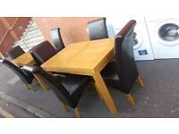 Soild oak table and 4 leather chairs