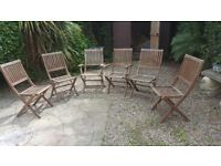 6x Wooden Garden Chairs