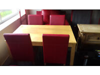 Table with 4 Red Faux Leather Chairs. VGC...Local Delivery