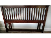 Dark wood headboard for double bed in very good condition