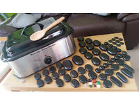 HOT STONE MASSAGE KIT: 68 Basalt/Chakra Stones plus 18 Quart Hot Stone Heater