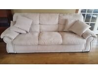 Large Cream faux suede sofa seats four, overall length 2.05m, very good condition
