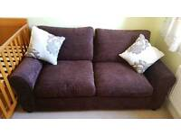 Tessa 2 seater fabric sofa bed chocolate brown (NEW)