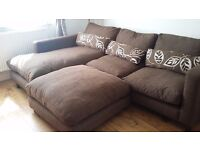 DFS Corner sofa with chaise longue and pouffe