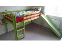 Green cabin bed / kids bed with a slide