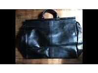 Black Italian leather Weekend bag Unused