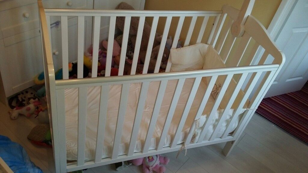 Mothercare Cot bed, White, with changing table