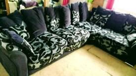 Black & grey Large L shape settee
