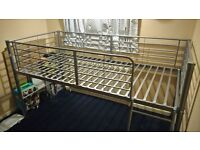 Childs single bed mid sleeper bed frame. Silver. Very good condition, still have the instructions