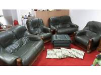 Green Leather sofa and chairs