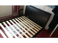 Double bed faux leather upholstered bed frame