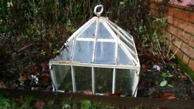vintage garden cloche. heavy metal and glass construction