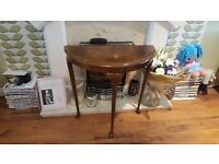 Vintage Retro Style Half Moon Side Table Bedside Table Hall Table Queen Anne Style Legs