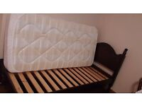 Solid wood single bed with mattress - high quality