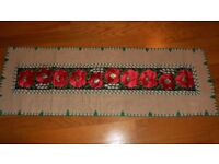 Hessian Jute Burlap Table Runner Natural Red Poppies Poppy Flowers Applique Remembrance Sunday
