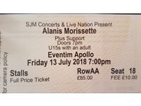 1 Stalls seated Alanis Morissette ticket London Fri 13th July