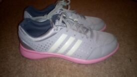 Adidas size 4.5 grey and pink training trainers