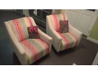 2 DFS Spectrum Accent Chairs (Pin/Striped)
