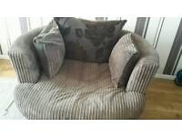 Spinning Sofa Love Seat and 2 Seater Sofa Set Brown Fawn Flowers