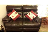 Gorgeous Brown Leather reclining Setee and two Arm Chairs for sale!!