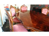 dining table with 6 chairs, corner unit, wall unit and glass bowl