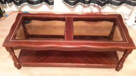 Dark red, solid wood coffee/tea table