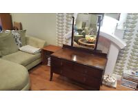 Vintage Retro Dressing Table with Mirror 3 Drawers Dresser Sideboard With Glass Top Side Board