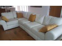 6 Seater White leather corner suite