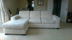 Right hand Beige Corner sofa with formal back cushions