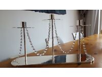 Wedgwood modern crystal trim table chandelier. silver plated to hold 3 candles. Brand new & boxed