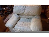 Cream leather single sofa