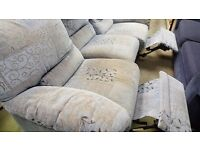 Three Seater Recliner Fabric Sofa in Excellent Condition