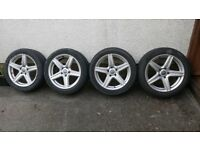 """4 x 18"""" VW alloy wheels, 1 is damaged but all tyres are in good condition"""