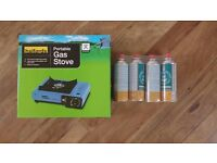 Halford's portable gas stove and 4 gas cartridges
