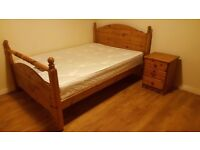 Pine Wardrobe and double bed set