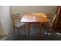 Drop leaf Formica teak table and chairs £40 set FREE DELIVERY 5 mile radius of STALYBRIDGE SK15 2PT