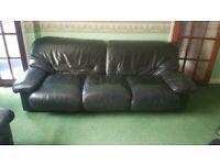 Large Black Leather 3 Piece Suite