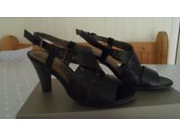 MARCO TOZZI Black Leather Sandals with heels size 4