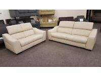 Ex Furniture Village Elixir 3 & 2 Seater Cream Leather Sofas Can Deliver View collect Hucknall Nottm
