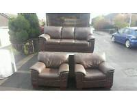 3, 1, 1 brown leather sofa from reids cost £2200 at new