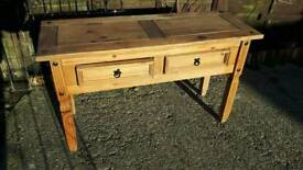 Solid wood small side table with 2 draws
