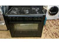 Graded Logik 90cm Dual Fuel Range Cooker Black £299 1 Year Guarantee