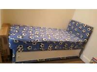 Single boys bed with mattress and boys wardrobe