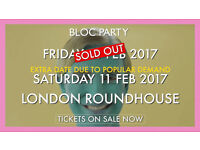 Two Main Space Standing Tickets for Bloc Party - London on Friday 10.02.2017