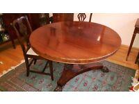 Antique Victorian Mahogany Tilt Top Dining Table