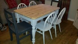 Shabby chic pine table and 6 chairs