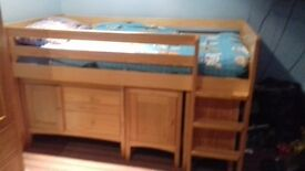 M&S Hastings Mid Sleeper with under cupboards, drawers and book case.