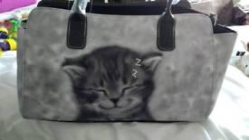 Handbag with Diamanté cat