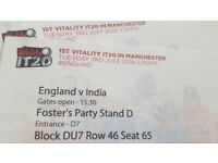 England vs India 3rd July 2018 tickets Block DU7 Row 46 Seat 65