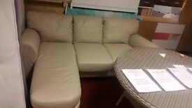 real leather corner sofa - cream
